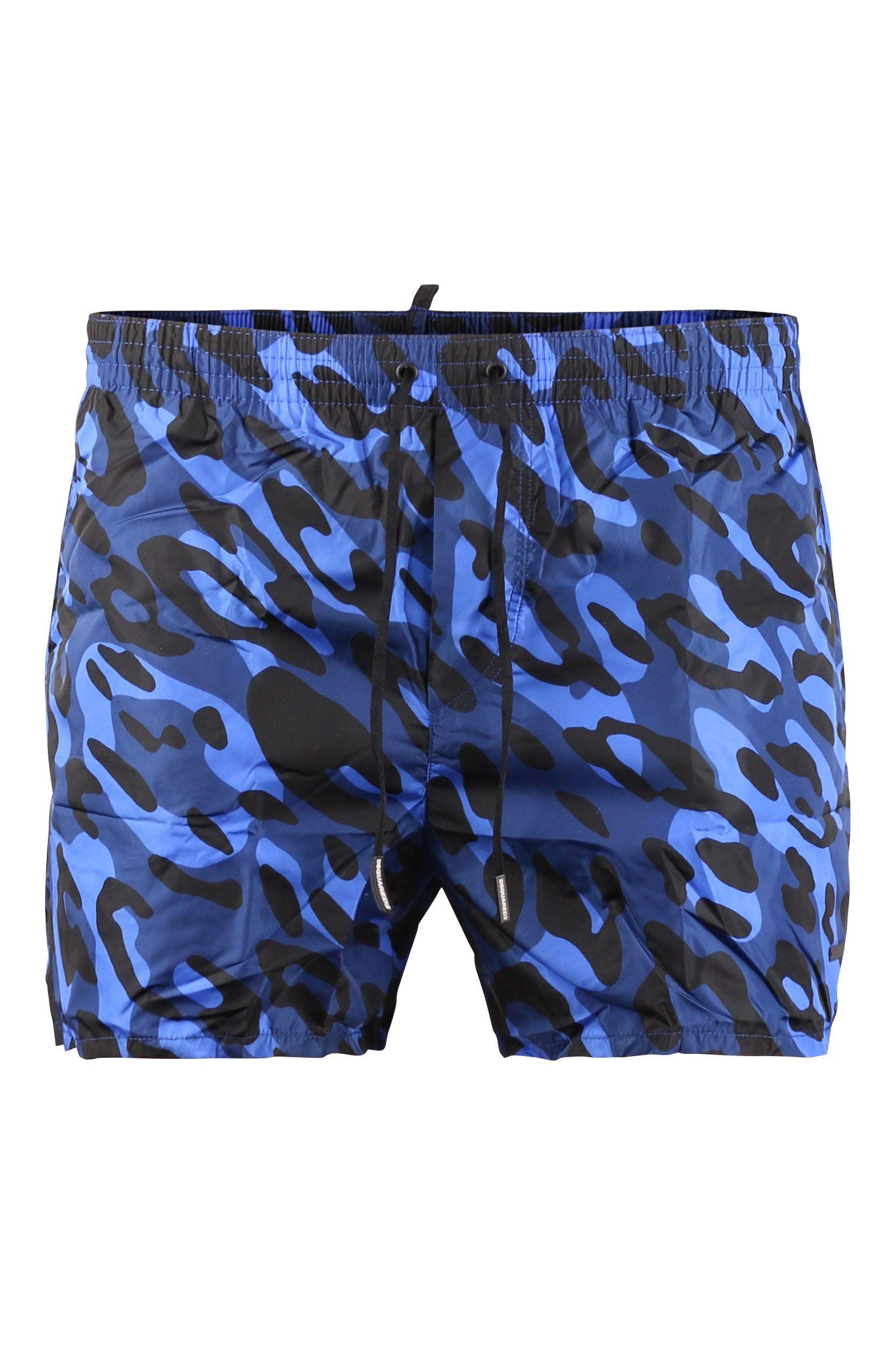 Zwembroek Short Heren.Dsquared2 D7b641400 Zwembroek Royaal Blauw Camouflage Winkelen